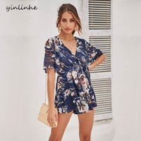 b0a8f27f0026 yinlinhe Blue Floral Overalls Women Short Sleeve Beach Chiffon Playsuit  Summer V neck Sexy Rompers With Belt Boho Jumpsuit 840