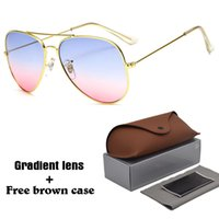 Wholesale colorful square sunglasses women resale online - Brand Designer Pilot Sunglasses Men Women Metal frame colorful gradient lens With free box and Brown Case