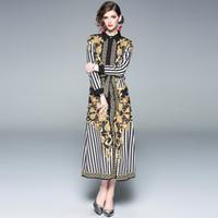 um breasted mulheres venda por atacado-2019 primavera new vintage das mulheres de impressão de ouro moda elegante tribunal dress dress lapela único breasted one-piece dress