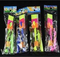 стрекоза зонт оптовых-Детские игрушки LED летающий зонт Стрелка Метеоритный дождь светоизлучающий бамбуковая стрекоза катапульты рогатка флэш-самолет Детский подарок B0044 DHL