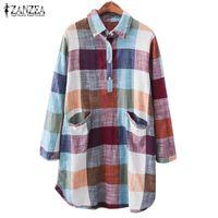 55eb1af9924 vintage tunic shirts Canada - Vintage Women Check Shirts Chemise ZANZEA 2019  Female Lapal Blouses Femme