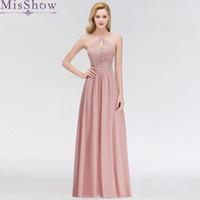 bata de gasa larga al por mayor-Robe de Soiree Longue, una línea de vestidos de noche largos, 2019 Vestidos de noche de color rosa polvoriento Vestido de fiesta largo de encaje de gasa