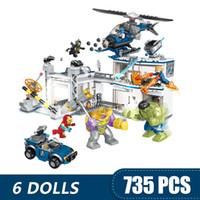 Wholesale super heroes girls resale online - 735PCS Small Building Blocks Toys Compatible with Legoe Avengers Compound Battle Marvel Super Heroes Avengers Gift for girls boys children D