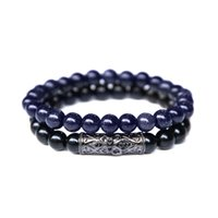 Wholesale beaded purple jewelry set for sale - Group buy New Set mm Black Onyx Beads Bracelet Fashion Purple Sand Stone Beaded Bracelet Bangles For Couple Wristband Jewelry Gifts