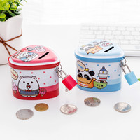 Wholesale animal piggy banks resale online - Cute Animal Piggy Bank Metal Tinplate Hearts Shape Collecting Tin With Lids And Locks Piggy Bank Fit Children Day Gifts hc E1