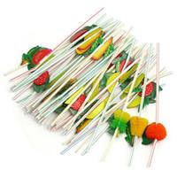 dekorasyon saman toptan satış-Straw Hawaii Düğün Dekorasyon Dekor İçki İçme Eko-Friendly 100pcs 24cm 3d Parti Straw Çok renkli Meyve Plastik Hasır Kokteyli