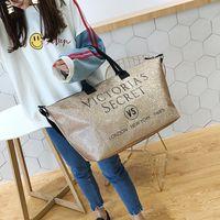 yaz tuval çantaları toptan satış-Marka Mektuplar Soopream Kadınlar Tuval Omuz Çantası Çanta Kadın Pu Seyahat Yaz Plaj Çantası Kızlar için Tekerlekler için Valizler