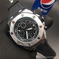mm silicone caso venda por atacado-Luxo Multifuncional Relógio Mens Designer Relógios Relógios Pulseira de Borracha Preta Ouro Prata Caso Movimento Mecânico relógios de Pulso Reloj De Luj