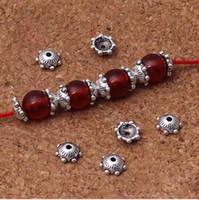 tibet boncukları kapakları toptan satış-1000 adet / grup Tibet Gümüş Çiçek Boncuk Caps 6mm El Yapımı Boncuk Spacer Aksesuarları DIY Takı Yapımı Püskül Sonu Caps