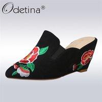 ingrosso 33 pompe delle scarpe di dimensioni-Odetina New Fashion Flower Ricama Scarpe Vintage High Wedge Pumps Tacchi A Punta A Punta Slingback Slip On Mules Plus Size 33-43