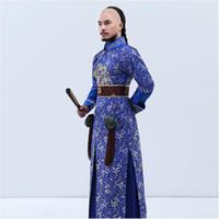 brocado chino azul al por mayor-Nueva llegada actuación en el escenario desgaste ropa bordada azul dragón brocado la dinastía Qing príncipe ropa chino antiguo traje masculino