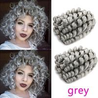 Wholesale free shipping braiding hair resale online - Nicole Ombre Braiding Hair Jumpy Curly Crochet Hair Grey Black Synthetic Braids Jamaican Bounce Inch Strands