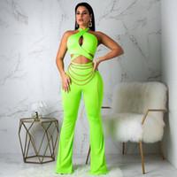 ingrosso ponticello da spiaggia-Neon Green Sexy Women Tute Festival Abbigliamento Beach Rompers Body Top + Pantaloni Metal Club Outfit Skinny Jumper