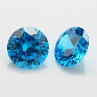 Wholesale fire gem for sale - 100pcs A Grade SeaBlue Color mm Cubic Zirconia Stone Round Cut Loose CZ Stone Synthetic Gems