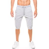 pantalones harem de hombres recortados al por mayor-Hombres Casual Pantalones de cintura elástica Pantalones de chándal Cosidos Sportwear Quinto pantalones Pantalones de hip-hop Pantalones deportivos Pantalones Harem