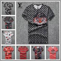 camisas de vestir de manga corta xxl al por mayor-Venta caliente de moda de verano nuevos hombres de manga corta camiseta Cuello redondo de moda Casual camiseta impresa tamaño S-XXL para hombre diseñador camisas de vestir