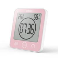 temporizadores de cuenta regresiva de reloj de pared al por mayor-Baño Digital reloj de pared electrónico termómetro y higrómetro temporizador de cuenta regresiva Silenciar a prueba de agua de baño Cocina Reloj de mesa EEA655