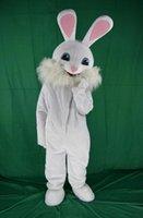 traje de coelho de páscoa venda por atacado-Venda direta da fábrica 2019 Coelhinho da páscoa traje da mascote do vestido extravagante animais engraçados bugs coelho mascote adulto tamanho coelho branco traje da mascote