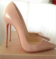 8cm şapka toptan satış-Marka Kadınlar Kadın Kırmızı Alt Yüksek Topuklar Stilettos Ayakkabı Elbise Ayakkabı Siyah Mat Koyun postu Hatları Düğün Ayakkabı 8 ile 10 cm 12cm + Kutu