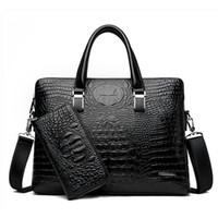 крокодиловый портфель оптовых- Designer Crocodile Pattern Briefcases Men Soft Leather Shoulder Bag Business office Computer laptop bag Vintage Handbags