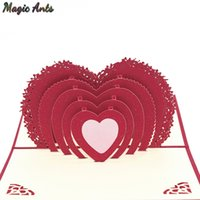 Wholesale pop up card heart 3d resale online - 3D Heart Shaped Love Pop UP Cards Wedding Invitation Valentines Day Card Anniversary Gift Card for wife husband Greeting Cards