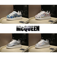 Wholesale elastic laces for shoes resale online - Designer Sneakers Graffiti Silver Best Quality Luxury Lovers Fashion Runway Genuine Leather Platform Shoes Flat Casual Shoes for Man Woman