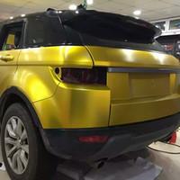 carro dourado fosco venda por atacado-Ouro Amarelo Escovado Matte Metálico Pérola envoltório do vinil carro envoltório material vinil veículo com Bolha de Ar 1.52x18 m / Roll 4. 98x59ft