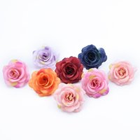 Wholesale garland brooches resale online - 6 Pieces Artificial flowers for christmas home wedding decoration diy garland needlework brooch fake plants cheap silk roses