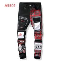 pantalones de camuflaje hombres delgados al por mayor-Nuevos jeans de camuflaje nuevo diseñador de moda de verano ropa de hombre montada pantalones casuales pantalones vaqueros de hip hop pantalones vaqueros delgados pantalones de mezclilla
