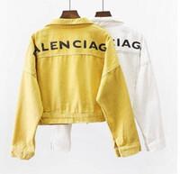 ingrosso giacca femminile a manica corta-A vita alta Giacca di jeans Donna Autunno selvatici Breve Harajuku stile studente manica lunga casacca XL