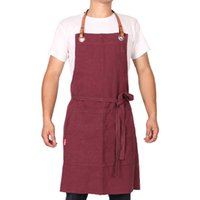 фартуки для белья оптовых-WEEYI Ladies Kitchen Linen Apron With Leather Strap Unisex Red Cooking Aprons For Women Men Home Barbecue Chirstmas Gift avental