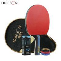 ingrosso gomma palla da tennis-Huieson 4 stelle in fibra di carbonio Racchetta da ping pong doppio brufoli in gomma racchetta da ping pong con borsa ping pong bordo palla proteggere C18112001