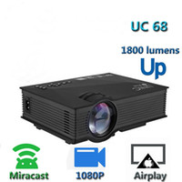 proyector unic uc46 al por mayor-UNIC UC68 Multimedia Home Theater 1800 lúmenes proyector con HD 1080p Mejor que UC46 Admite Miracast Airplay