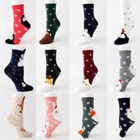 winter zuhause dekorationen großhandel-Weihnachten Socken Cartoon Weihnachtsmann Elk Gerade Socken Frau Winter warme Strümpfe Startseite Weihnachtsdeko 15style DHL WX9-1684