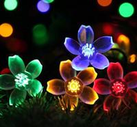 Wholesale solar garden led flower lights resale online - Solar Lamps LED String Lights Lights Peach Blossoms Flower lamp Outdoor Holiday Christmas Garlands Solar Lawn Garden Lights GGA2878