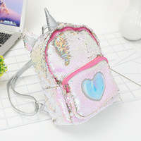 Wholesale leather satchel book bags resale online - Sequins Unicorn Backpack Free DHL Women PU Leather Mini Travel Soft Bag Fashion SchoolBag For Teenager Student Girls Book Bag Satchel