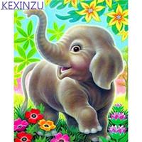 Wholesale paintings elephants for sale - Group buy Kexinzu Full D diamond painting Kit Animal Elephant Cartoon Decorative painting Room Embroidered diamond cross stitch picture paintin