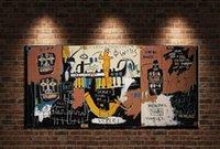 Wholesale cartoon canvas wall decor resale online - Jean Michel Basquiat quot The Niler quot Huge Large Wall Picture Handmade Oil Painting On Canvas For Wall Decor In Living Room