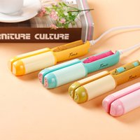 Wholesale portable mini straightening iron online - Portable mini candy color v hair straightener electric plywood ceramic dual use hair straightening curling irons