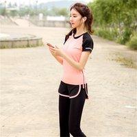 ingrosso black female yoga pants-Donna 2 pezzi Yoga Set T-shirtPants Nero / Arancione Patchwork Quick Dry Ragazze Sportswear Corsa femminile Sport Elastic Clothes # 805001