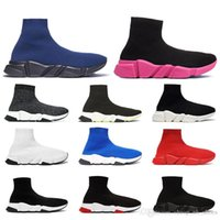 zapatos de lona con brillo negro de las mujeres al por mayor-2019 Hombres Mujeres Calcetines de diseñador Zapatos Speed Trainer Negro Blanco Glitter Rosa Azul Moda Lujo Hombres Zapatillas de deporte Zapatillas de lona ocasionales Plataforma