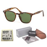 gafas de sol gratis al por mayor-Lente de vidrio UV400 de calidad superior Gafas de sol cuadradas Mujeres hombres Diseñador de marca cool street men gafas gafas de sol con estuche y etiqueta gratis