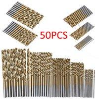 brocas de qualidade venda por atacado-50 Pcs Titanium Revestido Brocas Brocas de Aço Inoxidável de Alta Velocidade Conjunto de Ferramentas de Perfuração de Alta Qualidade de Energia para Madeira 1 / 1.5 / 2 / 2.5 / 3mm
