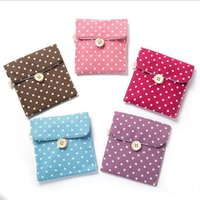 Wholesale dot napkins resale online - NEW Girl Sanitary Napkin Bag Brief Cotton Sanitary Storage Bag Travel Bags Woman Towel Holder Pouch Cosmetic Bags Cases DHL