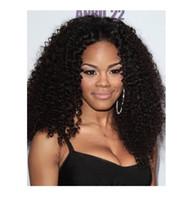 grandes pelucas afro onduladas al por mayor-Gran peluca de encaje hecha a mano Afro Kinky Curly culited alineada virgen del frente del cordón del pelo humano