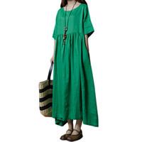 ingrosso abiti blu boho-Abito casual di lino in cotone per donna Vestito a maniche lunghe in mezza manica con maniche lunghe Vintage Summer 2019 Boho Maxi Abito lungo verde / blu scuro