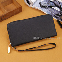 Wholesale leather wrist phone holder for sale - Group buy fashion designer Women wallets PU leather long wallet single zipper clutch purse with Wrist strap no box