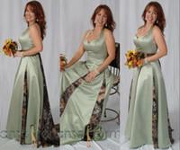 resmi elbiseler toptan satış-Şık Adaçayı Camo Anne Gelin Elbiseler Halter A Hattı Tam Boy Artı Boyutu Damat Anne Örgün Abiye giyim Düğün Konuk Elbise