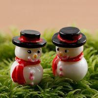 ingrosso piante per giardini fiabeschi-2 Pz / set Mini Resina Pupazzo di neve Figurina Micro Paesaggio Bonsai Regalo di Natale Craft Garden Decor Ornament Vaso da fiori