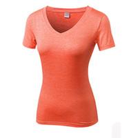 ingrosso pullover ragazze sexy-S-2XL T-Shirt da palestra per donna Palestra Fitness Calzamaglia Tuta sportiva Asciugatura rapida Vestiti da corsa corti Ragazza T-shirt Camicia da yoga sexy